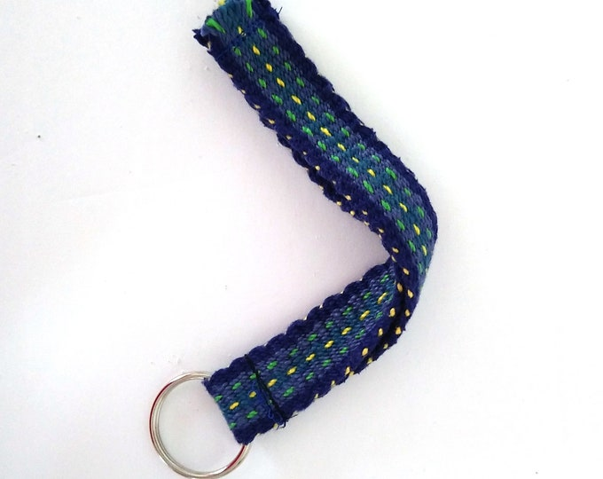 short woven lanyard, blue green cotton inkle band
