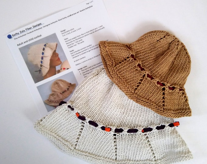 knitting pattern bucket hat, knit sun hat pattern, knit your own adult or child hat, digital download pdf knitting pattern