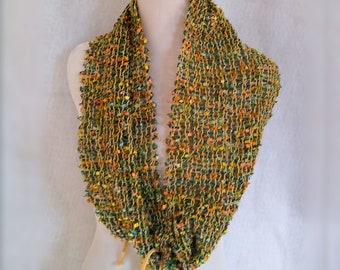 mesh weave circle scarf, chartreuse yellow infinity scarf
