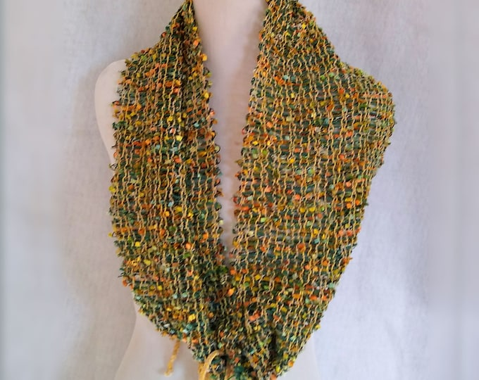 open weave circle scarf chartreuse yellow sparkly spring loomed infinity scarf