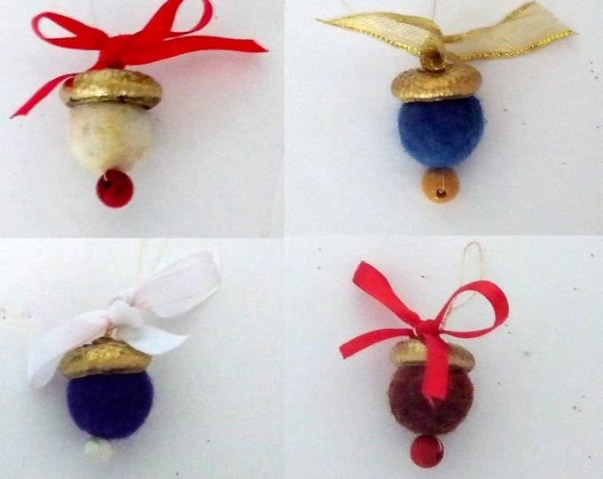 Acorn Christmas decoration, nature ornament, felted bead ornament