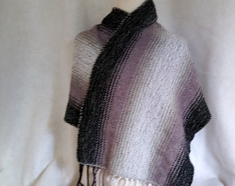 black gray white shawl handwoven ombre stripes, hand loomed cotton shawl