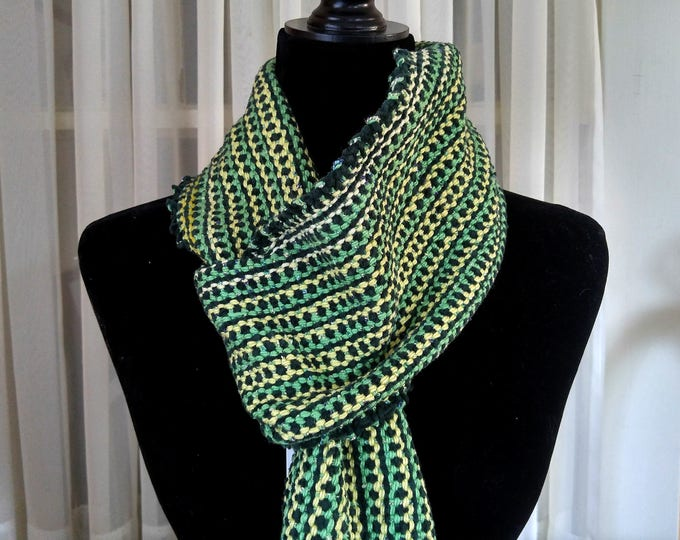 handwoven scarf green velour, chenille striped scarf, loomed scarf green yellow, non-wool winter scarf for him or her