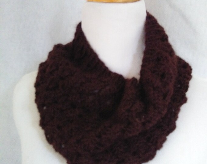 espresso brown alpaca loop scarf handknit, holiday 2020 gift for her, warm infinity scarf