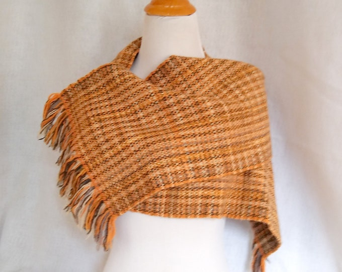 hand woven cashmere scarf, burnt orange twill scarf warm, elegant loomed muffler, woven gift for him or her