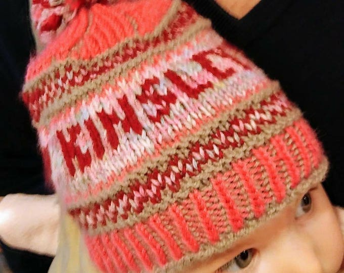 Knit baby girl hat with name, personalized baby girl hat, named baby girl hat, handknit girl hat with pompom