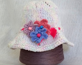 white knit sunhat with custom options handknit eyelet hat for child spring sunhat baby easter hat flowers sweet spring knit hat OOAK