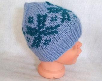 handknit child hat blue nordic snowflake