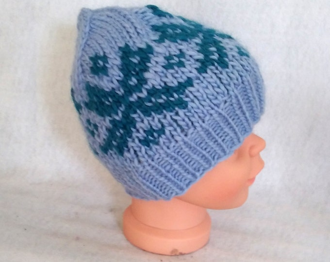 handknit child hat blue nordic snowflake