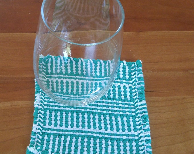 handwoven cotton drink coasters green white, striped mug rug mat, beverage coasters, party coasters, summer coaster set