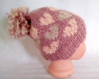hand-knit beanie hat in 2 sizes, chunky knit winter pompom hat, valentine heart design hat, valentine gift under 50