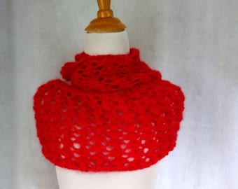 red mohair loop scarf handknit lace infinity scarf red mohair circle scarf knit cowl