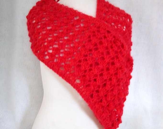 red mohair loop scarf handknit lace infinity scarf red mohair circle scarf knit cowl, valentine gift for her