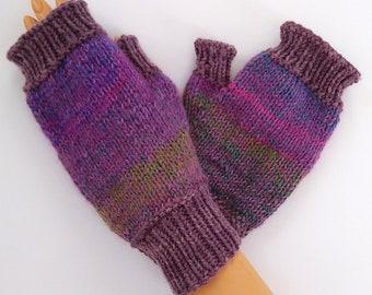 Knit wrist warmer purple green