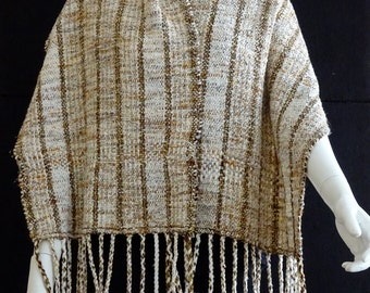 hand-woven striped shawl in beige and brown, rustic style loomed lap blanket with cream tan brown stripes