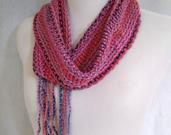 woven lace scarf mauve coral purple, lightweight scarf with drape, loomed scarf handwoven mesh lace