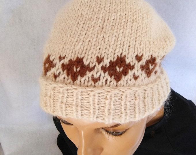 alpaca beanie cap hand knit diamond border slouchy beanie