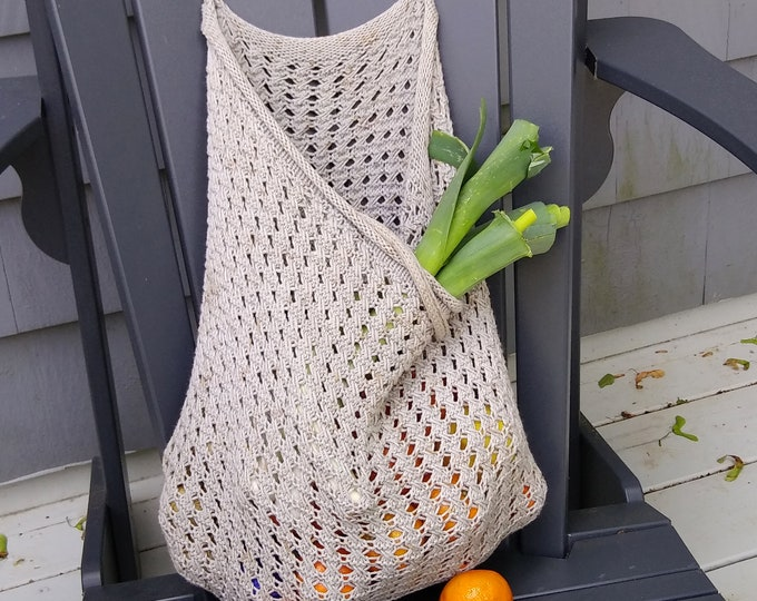 mesh market bag knit pattern, make-your-own farmer's market bag, DIY knit pattern for french market bag