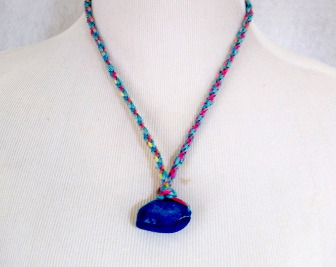 Blue ceramic bead pendant necklace