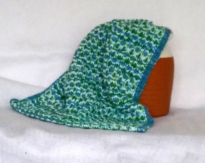 Kitchen towel woven in blue green cotton