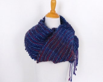 blue and purple handwoven scarf chunky mesh lace