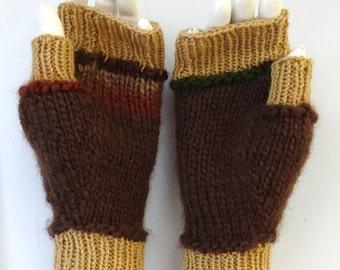 hand-knit 2-tone brown fingerless mittens