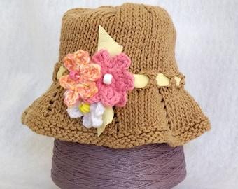 Golden bucket hat for child handknit