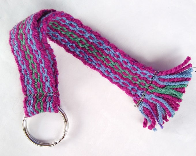purple blue woven keychain