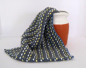 gray blue dish towel hand-woven