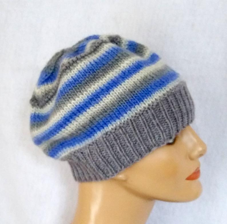 3ef32538076 Blue gray white hand-knit beanie striped soft merino wool