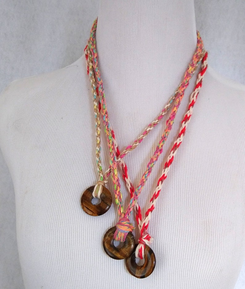 cotton linen cord ready to ship. Hand braided cord necklace with round tiger eye pendant unique design 24 inches long