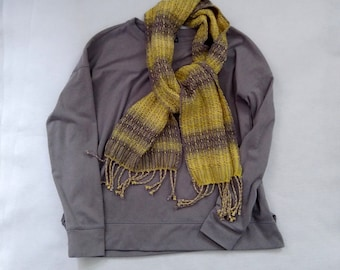 Yellow and gray scarf, handwoven cotton bamboo and merino