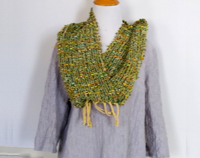 Infinity scarf handwoven in sparkly yellow and green.