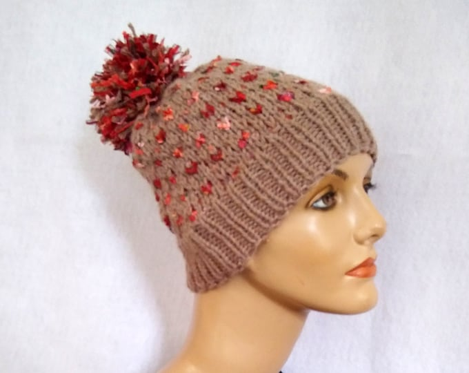 Bling beanie with pompom, handknit playful winter hat, tan knit casual hat with pompom, gift under 50