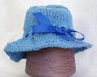 blue knit bucket hat, soft knit sunhat child, hand-knit hat baby toddler, hand-knit cotton bucket hat with ribbon trim