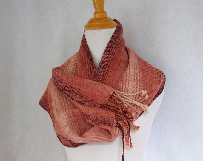 brown chenille scarf woven, loomed brown beige color shift scarf, striped chenille scarf
