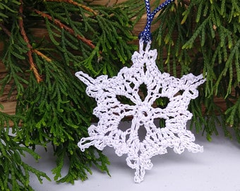 white and silver lace crochet snowflake ornament, victorian design christmas tree decoration, nature inspired handmade winter wedding decor