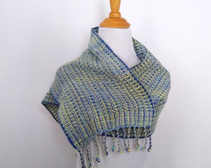 handwoven scarf in blue and yellow cotton alpaca cashmere silk, cashmere scarf for woman