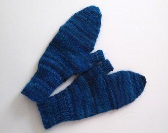 Blue glittens, handknit fliptop mittens for outdoor warmth