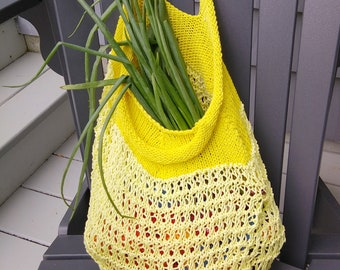 yellow market bag hand-knit cotton mesh