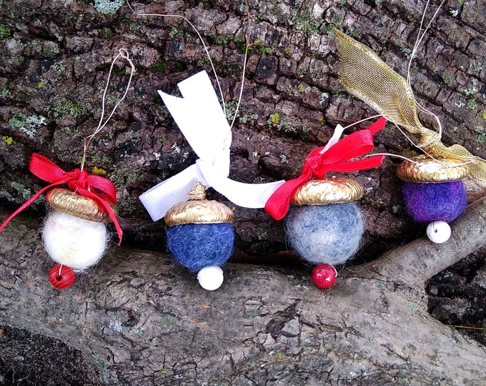 Hand-felted acorn, nature inspired rustic fall ornament