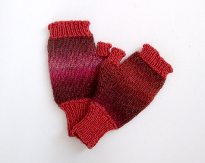 handknit fingerless mittens in 2 tone self-striping brown wool-blend yarn. One of a kind item, in stock, ready to ship