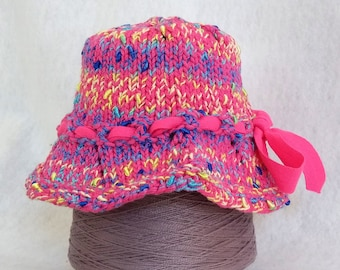 pink baby bucket sun hat with ribbon, hand knit hat baby girl, cute knit sunhat pink cotton, baby shower gift