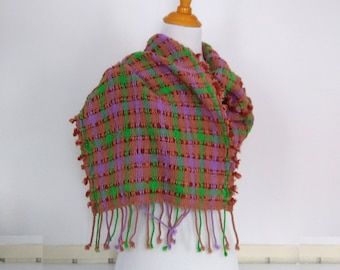 Rustic loose woven cotton shawl hand loomed in tan green and violet