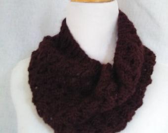 espresso brown alpaca loop scarf handknit, warm infinity scarf