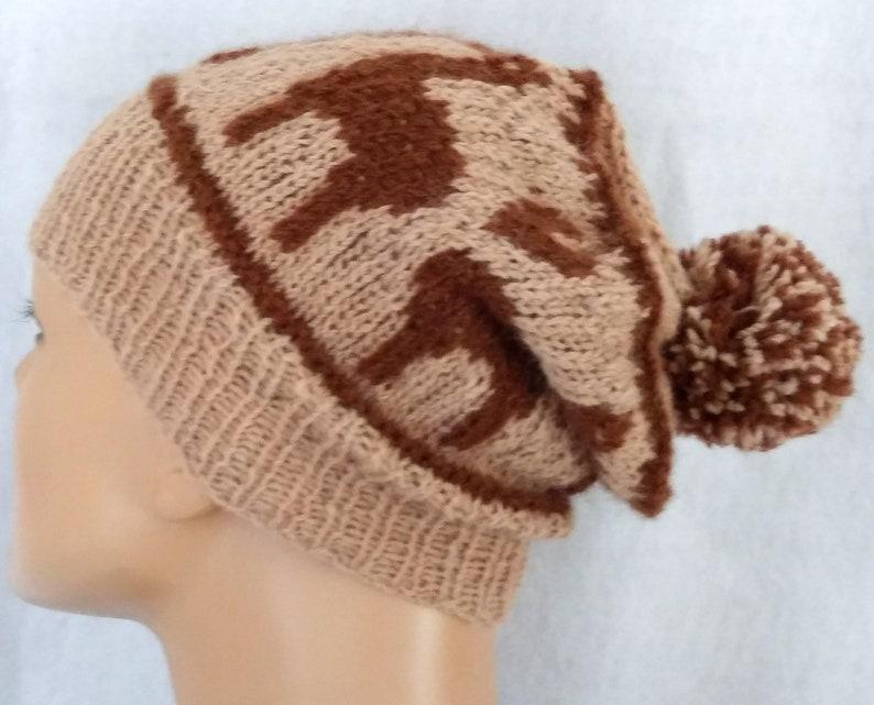 I love alpaca pompom hat hand-knit beanie with alpacas and image 0