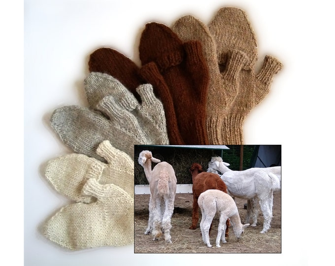 alpaca flip-top mittens, handknit glittens made-to-order from New England raised alpaca, all natural, lightweight, soft and warm