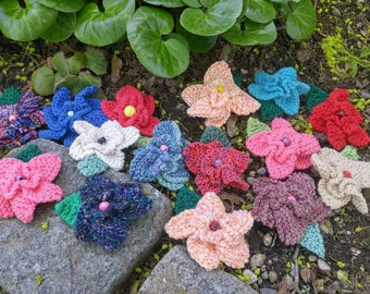 Hand knit colorful flower hair clips useful as shawl pins, lapel pins, hat trims, barrettes. Many colors, OOAK ready to ship