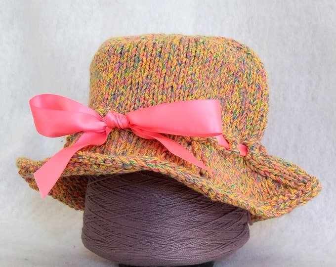 yellow bucket sunhat for child, knit bucket hat with ribbon bow, handknit sunhat baby, baby shower gift