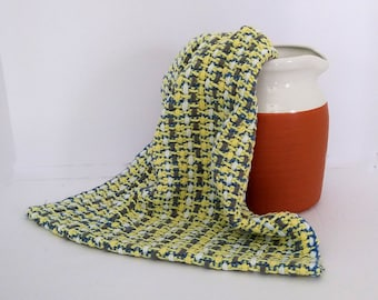 Yellow woven cotton kitchen dish towel with blue gray white, gift idea for cook, artisan crafted bridal gift, in stock, fast shipping